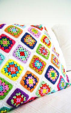 a Granny square pillow cover