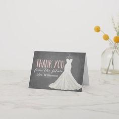 Modern Wedding Dress | Bridal Shower Thank You