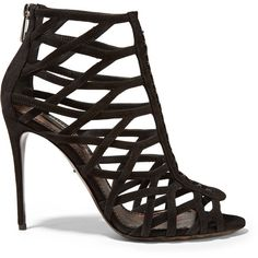 Dolce & Gabbana Keira suede sandals ($1,525) ❤ liked on Polyvore featuring shoes, sandals, black, black stiletto sandals, cage sandals, suede shoes, high heel stilettos and high heeled footwear