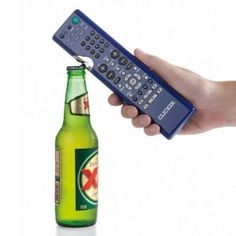 Clicker - 2 in 1 TV Remote and Bottle Opener.  $12.99.  Perfect combination for him or what????