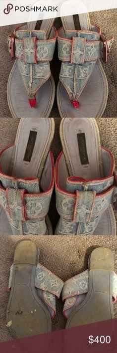 Louis Vuitton denim sandal Louis Vuitton denim sandal size 7 you can get them professionally cleaned Louis Vuitton Shoes Sandals