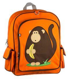"""Click here for more: Dieter (Monkey) Children's Backpack by Beatrix New York. Perfect for back to school, or as a gift for a Birthday or Christmas gift...Big enough to hold textbooks, lunch, a laptop, & more. These durable nylon packs have a large interior space with a smaller interior pocket. Exterior has a large front pocket and two side pockets. Padded back panel and shoulder straps. PVC free, lead free, phthalate free & BPA free. Sized for ages 5 to 10. (14 x 15 x 5.5"""")"""