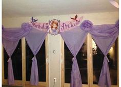 Sofia the first birthday decorations. Made from a roll of vinyl. The kind you use for table clothes. Found at Party Store! Birthday Board, 3rd Birthday, Birthday Parties, Disney Birthday, Frozen Birthday, Princess Sofia Party, First Birthday Decorations, Sofia The First, Party Stores