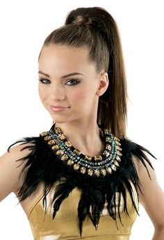 Four rows of oppulent jewels and black feathers create this stunning collar. Attached to ribbon that ties at the back neck. Girls Dance Costumes, Jazz Costumes, Dance Outfits, Jungle Costume, Lion King Costume, African Dance, Tribal Costume, Le Roi Lion, Feather Pattern