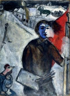 MARC CHAGALL Between Darkness and Night (Entre chien et loup), 1943 Oil on paper mounted on canvas 39 2/5 × 28 7/10 in 100 × 73 cm © Archives Marc et Ida Chagall. © 2012 Artists Rights Society (ARS), New York / ADAGP, Paris / Image provided by Dallas Museum of Art Private collection Oil on paper mounted on canvas 39 2/5 × 28 7/10 in 100 × 73 cm © Archiv...