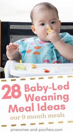 A list of 28 baby-led weaning or self-feeding food ideas for babies. These are our 9 month meal ideas but would be great for BLW eaters 8+ months or babies who are just starting self-feeding. Feeding your baby food doesn't have to be difficult, it can be fun! Baby Led Weaning Breakfast, Baby Led Weaning First Foods, Baby Weaning, Baby Feeding Schedule, Baby Schedule, 9 Month Olds, 9th Month, Meal Ideas, Food Ideas