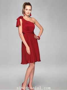 Burgundy A-line One-shoulder Neckline Bridesmaid Dress