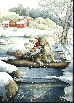 gnomes ' modern Rare new postcard by Inge Look Christmas Gnome, Christmas Art, Fairy Land, Fairy Tales, Elves And Fairies, Scandinavian Christmas, Magical Creatures, Children's Book Illustration, Whimsical Art