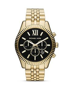 Michael Kors Men's Gold Tone Lexington Chronograph Watch, 45mm | Bloomingdale's