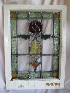 Vintage English Stained / Leaded Glass Window - Mackintosh Rose Design