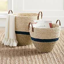 Drexel Woven Basket, Set Of Two - Navy - Grandin Road Sisal, Basket Weaving, Hand Weaving, Elephant Ear Plant, Large Baskets, Woven Baskets, Grandin Road, Mermaid Blanket, Snake Plant
