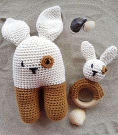 Sweet rabbits. Love this gorgeous bunny rattle and teething ring set! https://www.etsy.com/uk/listing/530562310/bunny-rattle-and-teething-ring-set