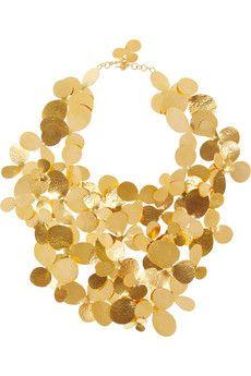 HERVÉ VAN DER STRAETEN Hammered gold-plated bib necklace