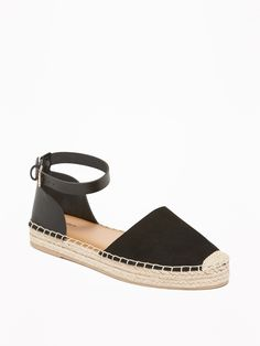 Old Navy Women's Faux-Suede/Faux-Leather Ankle-Strap Espadrilles Black Regular Size 6 Bags Online Shopping, Buy Shoes Online, Shoe Deals, Luxury Shoes, Girls Shoes, Ladies Shoes, Types Of Shoes, Just In Case, Ankle Strap