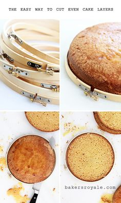 Bakers Royale - Stack embroidery hoops around cake layers to help get even layers when trimming that dome.