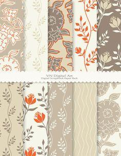 "Leaves & Florals Digital Scrapbook Paper Pack (8.5x11""-300 dpi) -- Instant Download -- 10 Digital papers -- 446 -- $3.00"