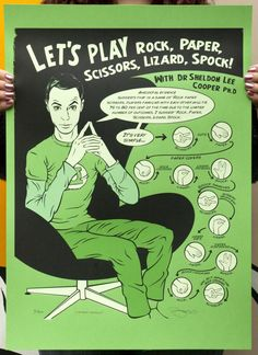 The Big Bang Theory 'Rock, paper, scissors, lizard, Spock' Hand Pulled Screen Print  sheldon