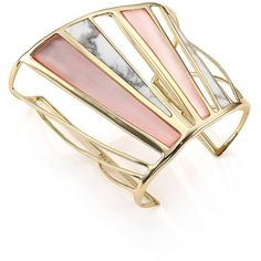 Alexis Bittar Lucite Luna Howlite Cuff Bracelet ($440) ❤ liked on Polyvore featuring jewelry, bracelets, apparel & accessories, gold tone jewelry, lucite bangle, golden bangles, lucite cuff bracelet and cuff bangle