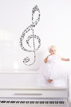 Clef of Music Notes, Treble and Bass Clefs - Decal, Sticker, Vinyl, Wall, Home, Studio, Dorm Decor.. $59.00, via Etsy.