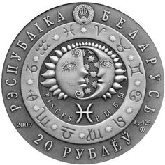 The collectible coin has the antique finish which makes the image more contrasted. There is a Zodiac circle with all signs' symbols placed on it and the sun and the moon reliefs are inside. The Belarus emblem is placed at the top of the obverse. Scorpio Horoscope, Astrology Zodiac, Sagittarius, Zodiac Circle, New Zodiac, Gold And Silver Coins, Zodiac Star Signs, World Coins, Rare Coins