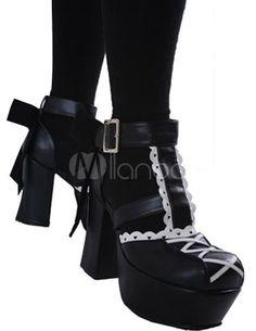 da610d79d04 My lolita collection · Black 3 1 2   Chunky High Heel 2   Platform Lace Trim