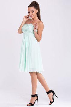 Pastel Lace Chiffon Party Dress - Chiffon Bandeau Dresses Online. Lace Chiffon, Chiffon Dress, Dress For Short Women, Short Dresses, Bandeau Dress, Perfect Wardrobe, Beautiful Lingerie, Little Dresses, International Fashion
