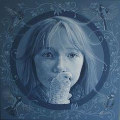 Schilderij meisje met vogel. Olieverf. Daisy van Montfort