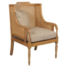 Mahogany wood accent chair with woven cane paneling and a raw silk cushion.   Product: Chair   Construction Material: