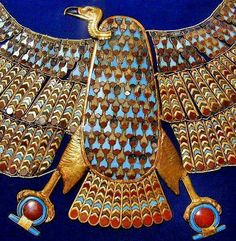 Detail of the gold link and inlay Nekhbet collar from the Tomb of Pharoah Tutankhamun.