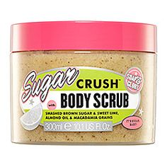 """Soap & Glory Sugar Crush™ Body Scrub, """"an exfoliating, super smoothing blend of smashed brown sugar, sweet lime, almond oil, and macadamia grains.""""   Made without parabens, sulfates or phthalates."""