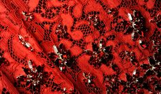 Dolce Fall WInter 2014 Mosaics Collection - Red lace and floral crystal detail