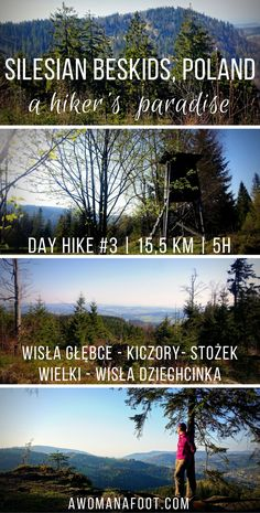 Check out one of the best day hikes Silesian Beskids have to offer - great views, challenging trails and cheap accommodation - don't miss it! Day Hike #3: Wisła Głębce - Stożek Wielki - Wisła Dziechcinka. Awomanafoot.com | women hikers | Beskid | Poland | hiking trails | Wisła | Carpathians | Hiking in Poland | solo | awomanafoot.com