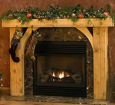 Fireplace mantle with log supports to floor.  Mantle is slab with bark edge for half diameter of log.-