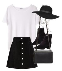"""""""Outfit with an a-line skirt"""" by ferned on Polyvore featuring T By Alexander Wang, AG Adriano Goldschmied, Stuart Weitzman, rag & bone, Forever 21 and Topshop"""