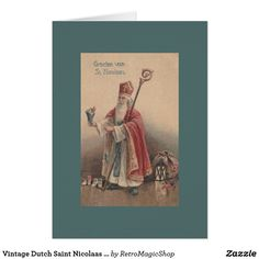 vintage dutch saint nicolaas greeting card new year
