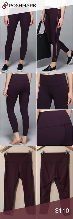 Lululemon High Times Pant SE Mesh Lululemon High Times Pant Special Edition Mesh sides, size 6, black cherry color, perfect condition with no flaws. 7/8 length, high rise, Luon fabric, flat seams, mesh sides, super cute and hard to find. Bundle to save 10% off ❤️ lululemon athletica Pants
