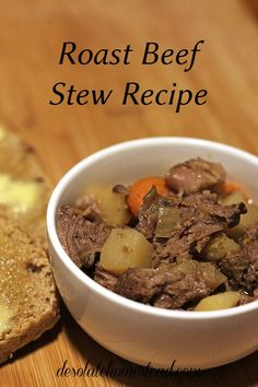 Sunday Roast Stew Recipe. Cooks low and slow for hours in the crock pot. It is simple, delicious, classic, and family favorite. | desolatehomestead.com