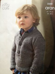 Coat & Sweater in King Cole Fashion Aran - Discover more Patterns by King Cole at LoveKnitting. The world's largest range of knitting supplies - we stock patterns, yarn, needles and books from all of your favorite brands. Free Aran Knitting Patterns, Jumper Knitting Pattern, Knitting Ideas, Knitting Projects, Crochet Projects, Knitting For Kids, Baby Knitting, Toddler Sweater, Baby Coat