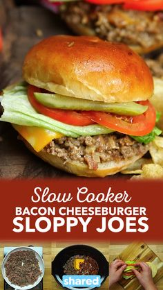 Crockpot Bacon Cheeseburger Sloppy Joes Are Ready Right on Time for Dinner Slow Cooker Bacon Cheeseburger Sloppy Joes Slow Cooker Sloppy Joes, Slow Cooker Bacon, Sloppy Joes Recipe, Slow Cooker Recipes, Crockpot Recipes, Cooking Recipes, Empanadas, Crockpot Potluck, Healthy Lunches For Work