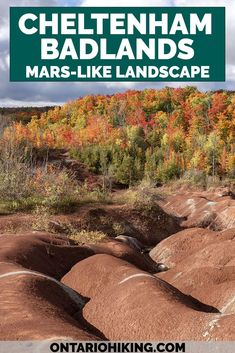 The Cheltenham Badlands is one of the most amazing landscapes in Ontario that looks like Mars! Visit the red rock hills of Caledon, Ontario. It's one of the most iconic hikes in Ontario near Mississauga and Toronto. Ontario Badlands | Places to visit in Ontario | Ontario nature | Badlands Ontario | Cheltenham Badlands Ontario | Cheltenham Badlands Caledon | Best hikes in Ontario | Fall hikes Ontario Travel Guides, Travel Tips, Travel Goals, Travel Essentials, Cheltenham Badlands, Latin America, North America, Central America, Visit Canada