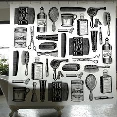 Barbershop Shower Curtain, $12, now featured on Fab.