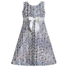 A cute and stylish soutache dress for your little girl by Bonnie Jean! The silver sleeveless dress features an intricate all-over rosette soutache detailing and a nice ribbon bow at empire waist. A perfect dress for her fancy affair and a great choice for