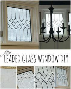 Faux Leaded Glass Window Tutorial is part of Stained glass diy - Easy way to create a realistic looking faux leaded glass window Article includes a detailed tutorial with pictures on how to DIY this yourself Painting On Glass Windows, Leaded Glass Windows, Transom Windows, Transom Window Treatments, Lead Windows, Bathroom Window Treatments, Glass Paint, Faux Window, Antique Windows