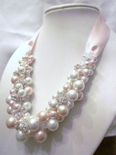Blush Pink and White Pearl Cluster Necklace by CreationsbyCynthia1