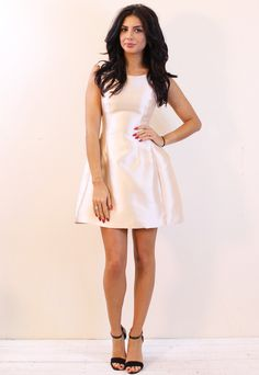Satin Structured Tulip Shape Dress in Cream