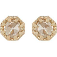 Grace Lee Women's Petite Crown Bezel Diamond Studs ($785) ❤ liked on Polyvore featuring jewelry, earrings, accessories, brincos, stud earrings, yellow, 14 karat gold earrings, yellow stud earrings, diamond stud earrings and diamond post earrings