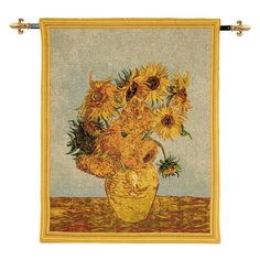 £180.00 - Sunflowers Large Tapestry Wall Hanging. This #tapestry wall hanging features Vincent Van Gogh's Sunflowers from the National Gallery Collection. Made from jacquard woven tapestry with lining on the reverse this beautiful wall hanging features an integral hanging sleeve. The black painted metal hanging rod features decorative brass fleur- de-lys finials. Due to the nature of the fabric sizes may vary by 5%. #MothersDay #VanGogh