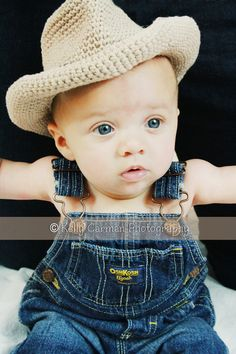 Crochet Baby Cowboy Hat Photo Prop by gammyshouse on Etsy-- coveralls no shirt