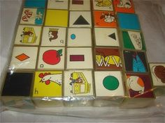 We had these blocks! What were they called?  I think they came in the mail as an educational kit with some other materials...Have to ask Mom.