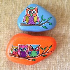 Beautifully colorful,stone painted owls!
